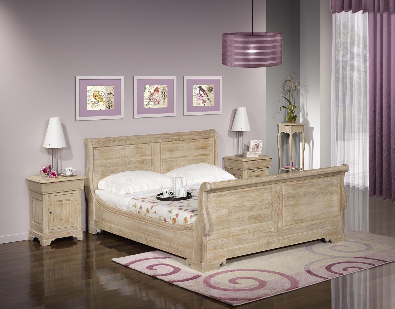 lit bateau martin en ch ne massif 140 190 de style louis philippe finition ch ne bross blanchi. Black Bedroom Furniture Sets. Home Design Ideas
