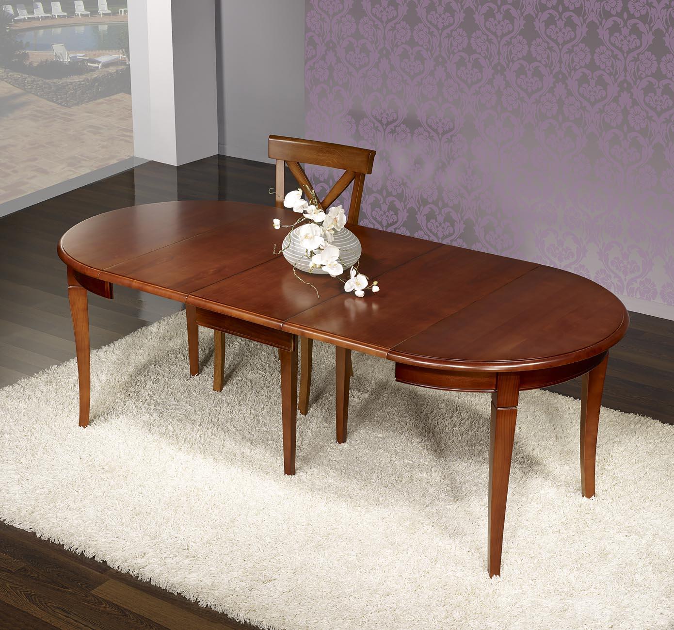table ronde en merisier massif de sytle louis philippe. Black Bedroom Furniture Sets. Home Design Ideas