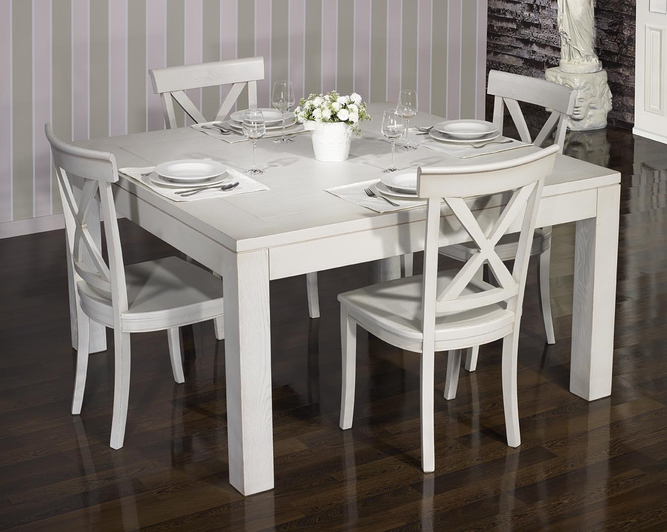 Table de salle manger 140 140 contemporaine en ch ne finition ch ne bross gris perle meuble - Table salle a manger chene massif contemporain ...