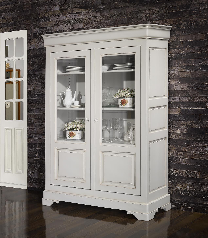 biblioth que 2 portes elena en merisier massif de style louis philippe finition gris perle. Black Bedroom Furniture Sets. Home Design Ideas
