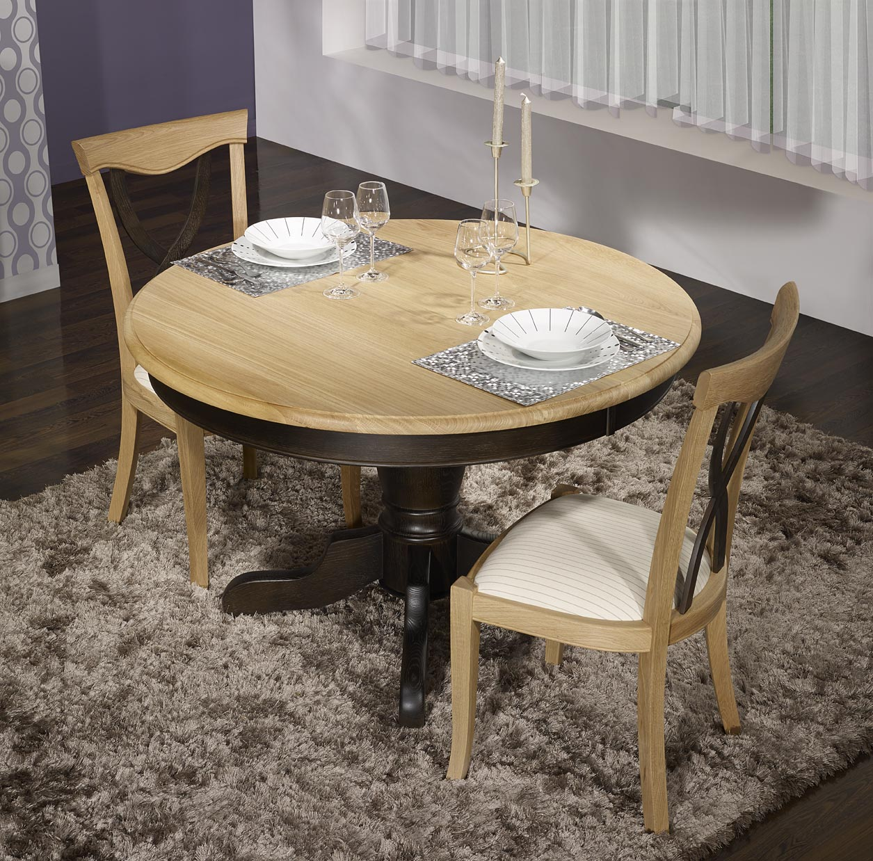 Table ronde pied central en ch ne massif de style louis - Table noir et bois ...
