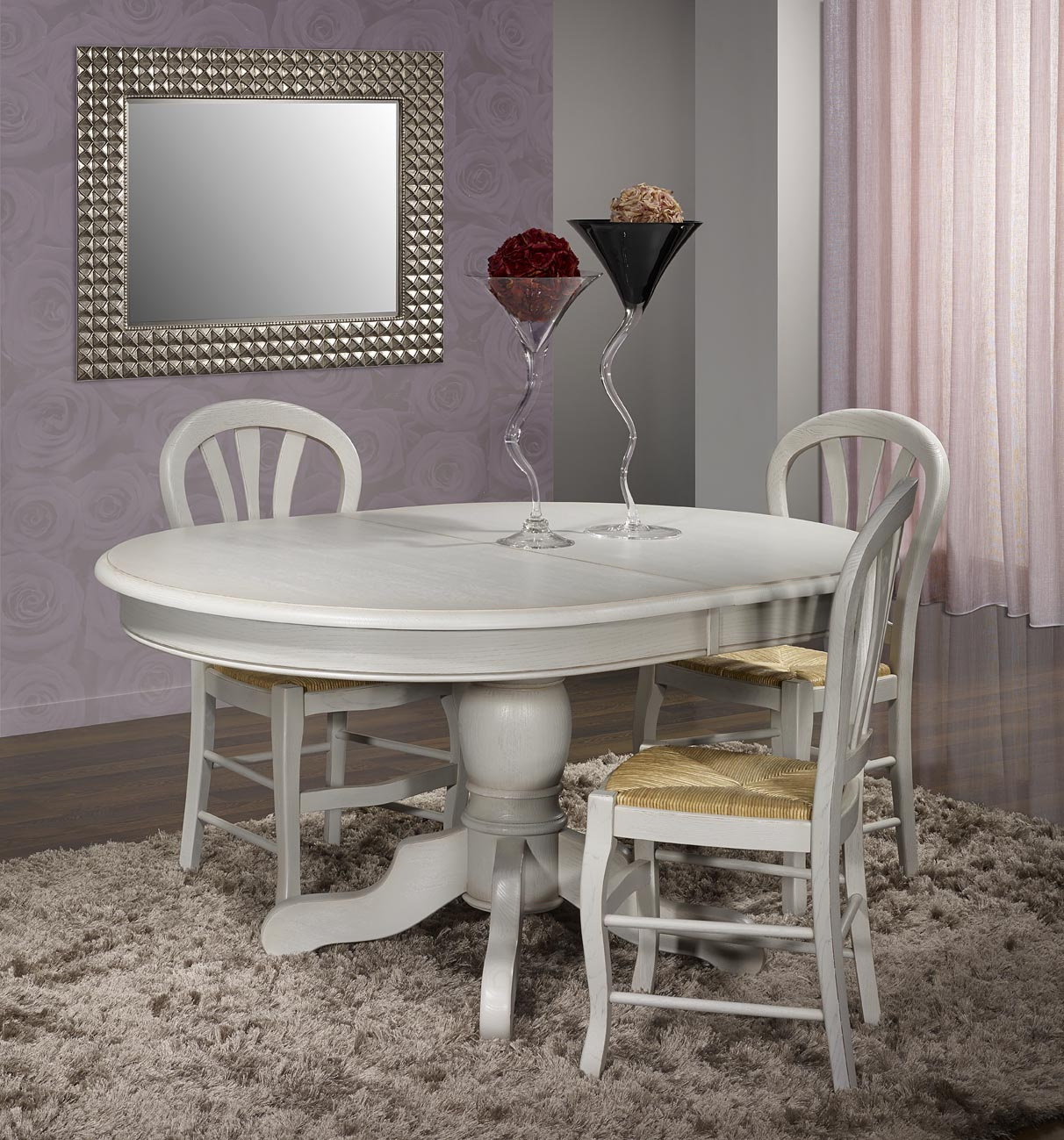 Table ovale pied central romain en ch ne massif de style for Table louis philippe