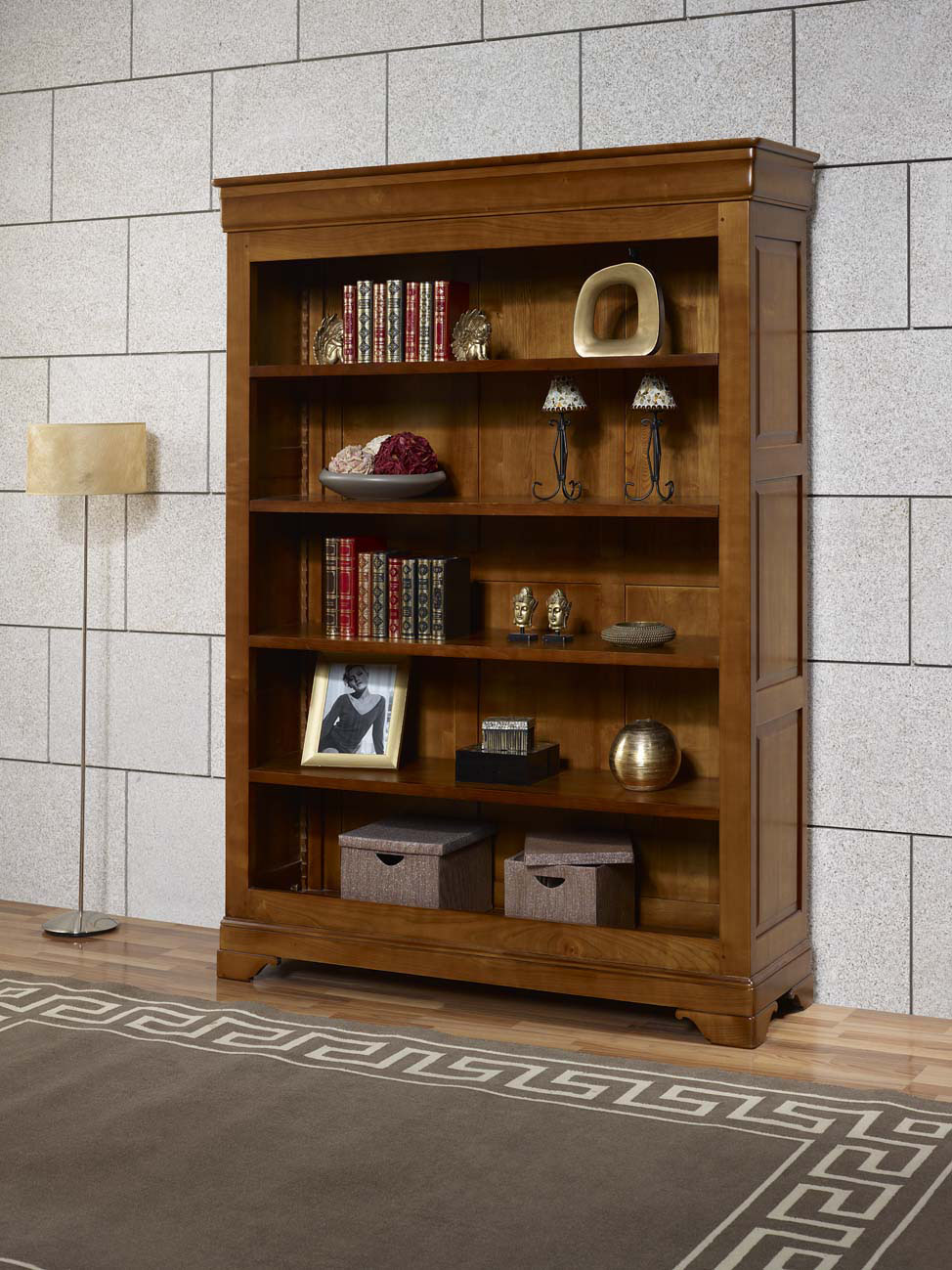 biblioth que en merisier massif de style louis philippe meuble en merisier massif. Black Bedroom Furniture Sets. Home Design Ideas
