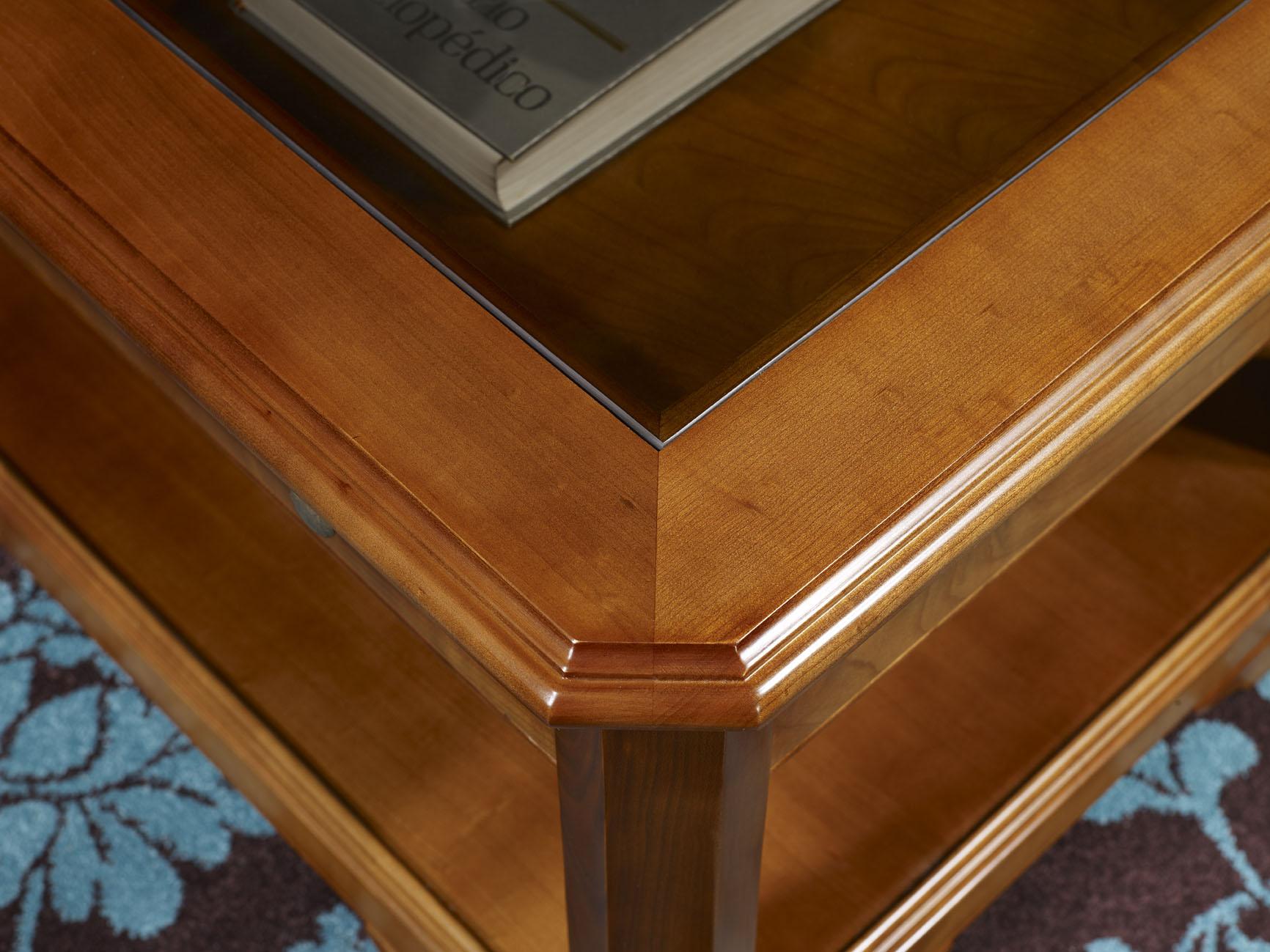 Table Basse en Merisier Massif de style Louis Philippe TIROIR VITRINE , meuble en Merisier massif # Meubles Bois Massif Merisier