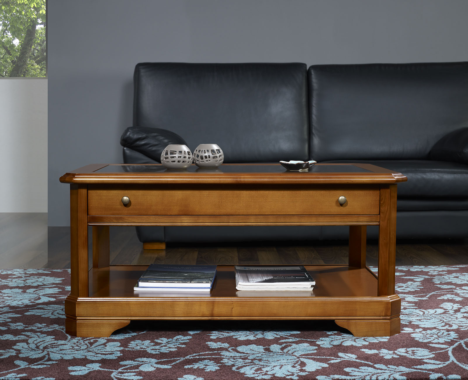 Table basse en merisier massif de style louis philippe - Table basse de style ...