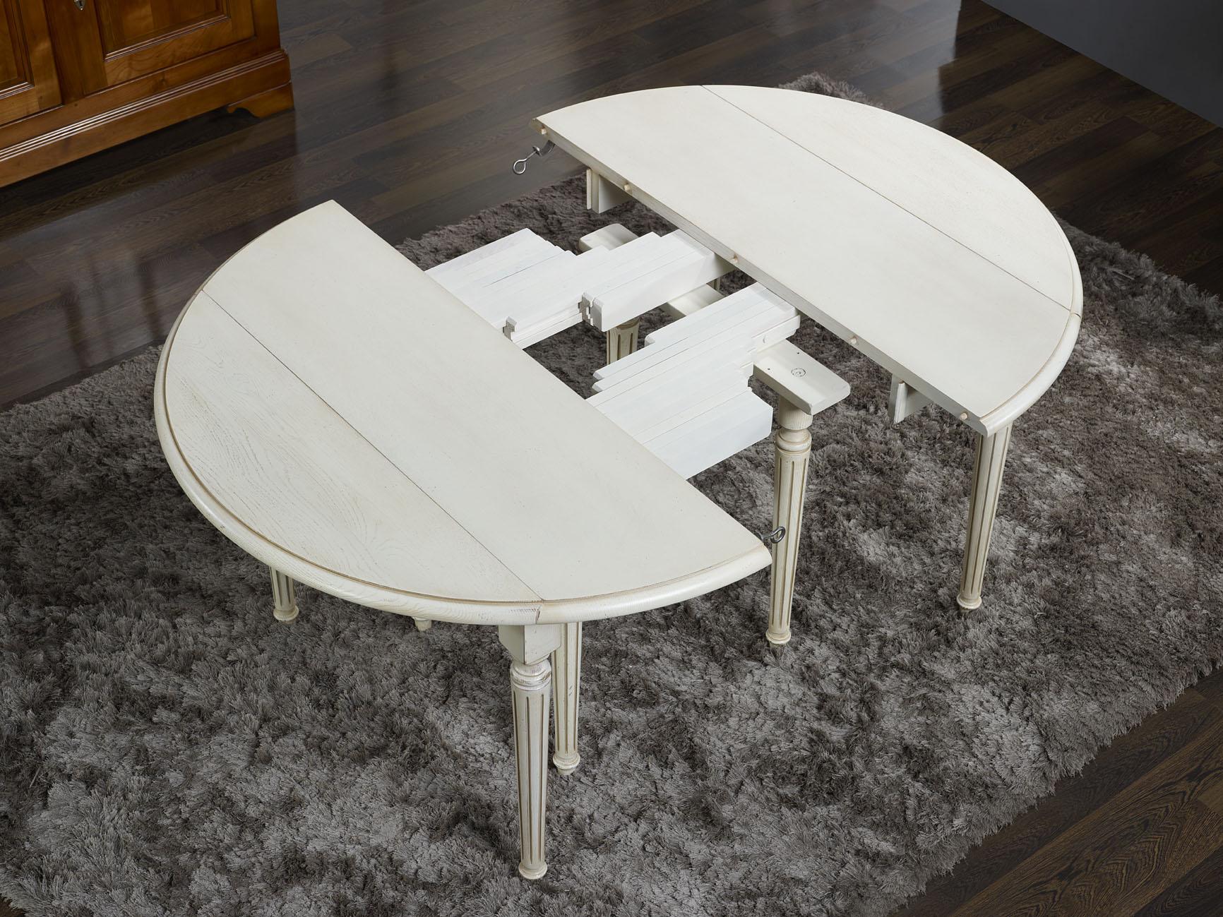 Table ronde volets cl ment diametre 120 en ch ne massif for Table ronde allonge