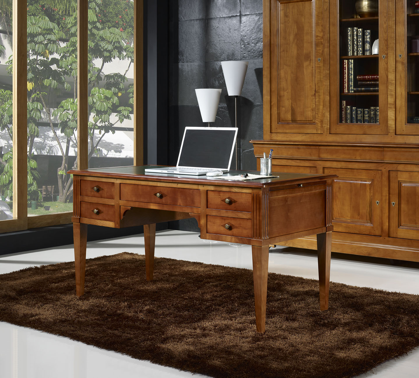 bureau ministre en merisier massif de style directoire meuble en merisier massif. Black Bedroom Furniture Sets. Home Design Ideas