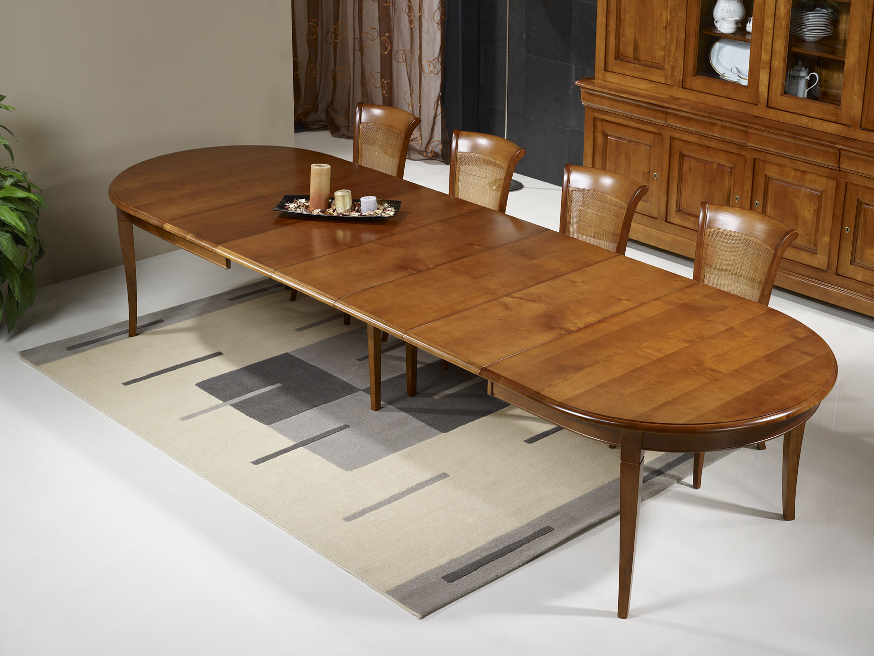 Table ovale julie 180x120 en merisier massif de style for Table rallonge