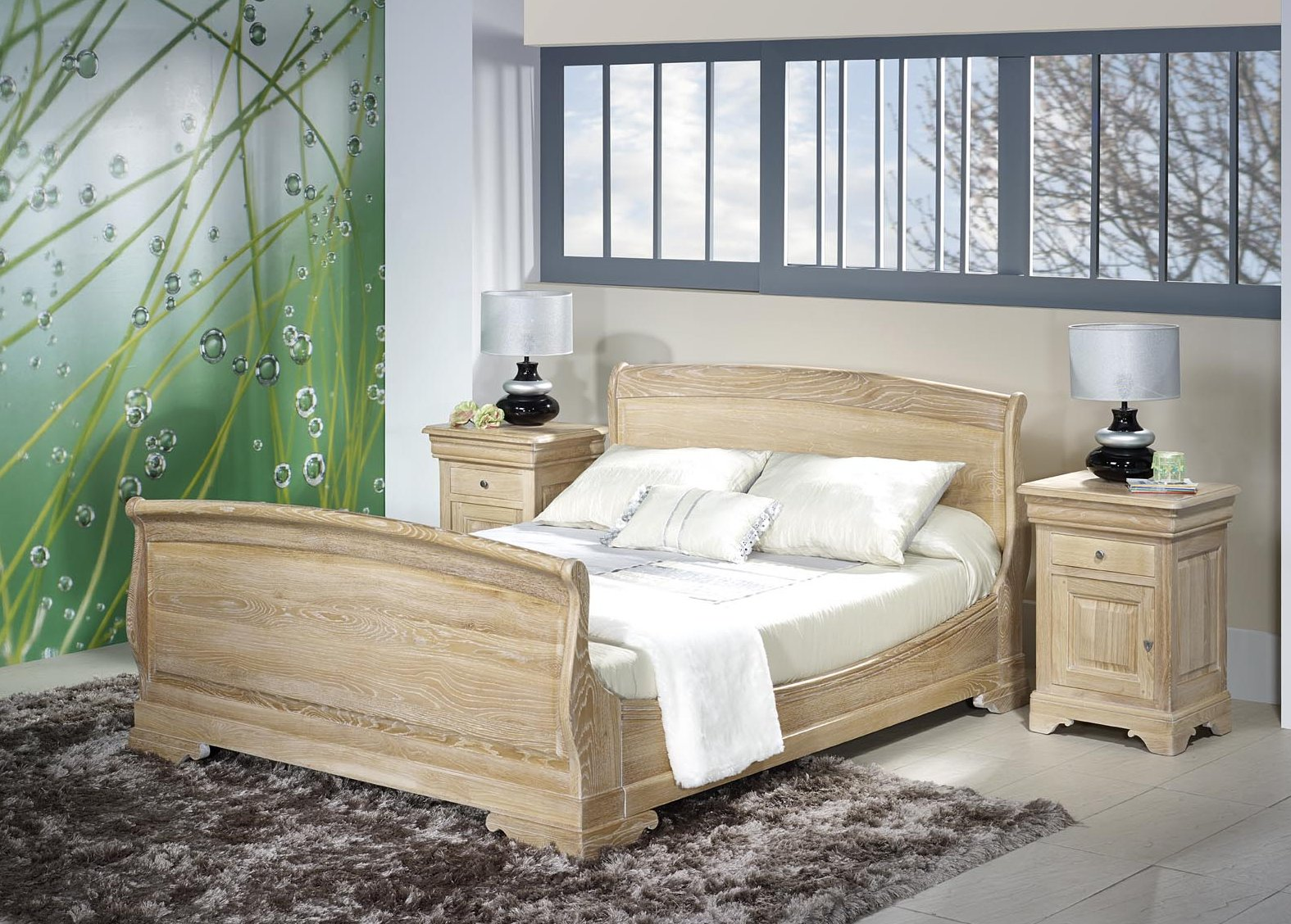 lit thomas 140x190 en ch ne massif de style louis philippe. Black Bedroom Furniture Sets. Home Design Ideas