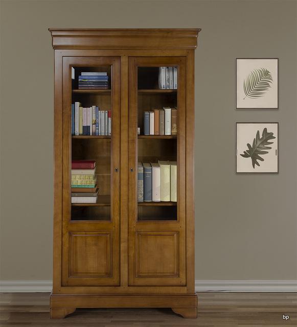 biblioth que 2 portes camille en merisier massif de style louis philippe largeur 104 cm meuble. Black Bedroom Furniture Sets. Home Design Ideas