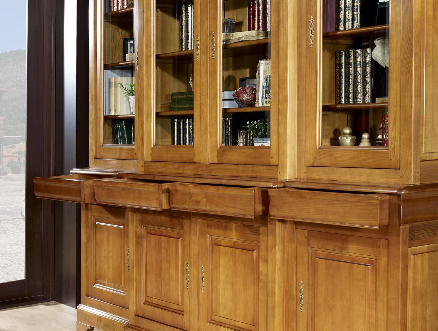Biblioth Que 2 Corps 4 Portes Anne Laure En Merisier Massif De  # Bibliotheque Bois Clair