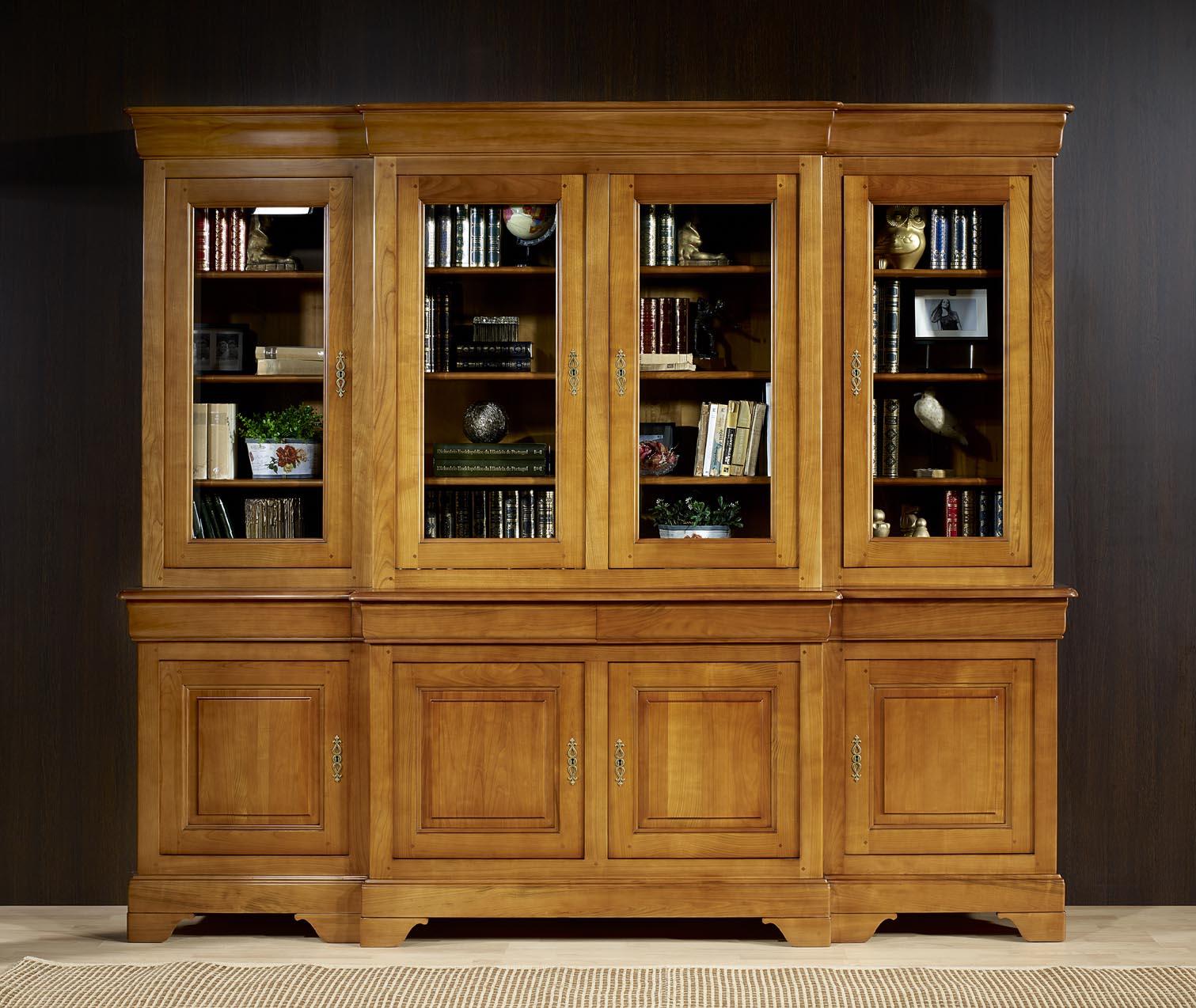 Biblioth Que 2 Corps 4 Portes Anne Laure En Merisier Massif De  # Bibliotheque Avec Portes Vitrees