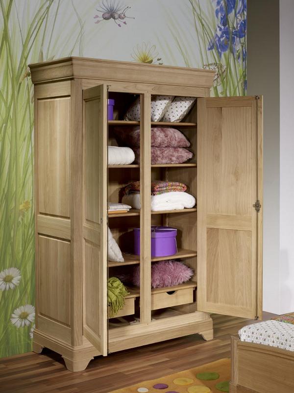 armoire 2 portes st phane en ch ne massif de style louis philippe finition ch ne bross naturel. Black Bedroom Furniture Sets. Home Design Ideas