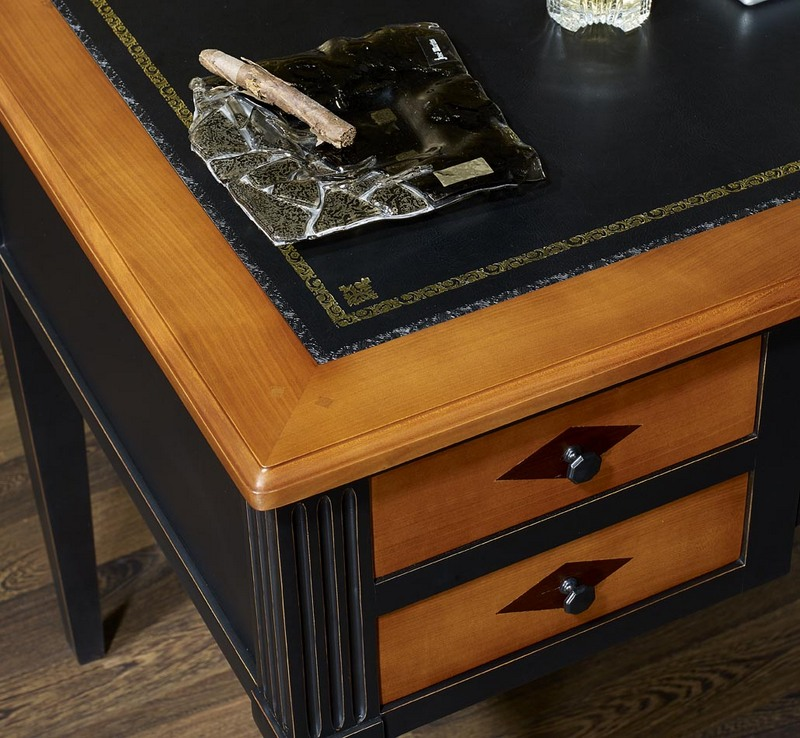 bureau ministre en merisier massif de style directoire patine noir meuble en merisier massif. Black Bedroom Furniture Sets. Home Design Ideas