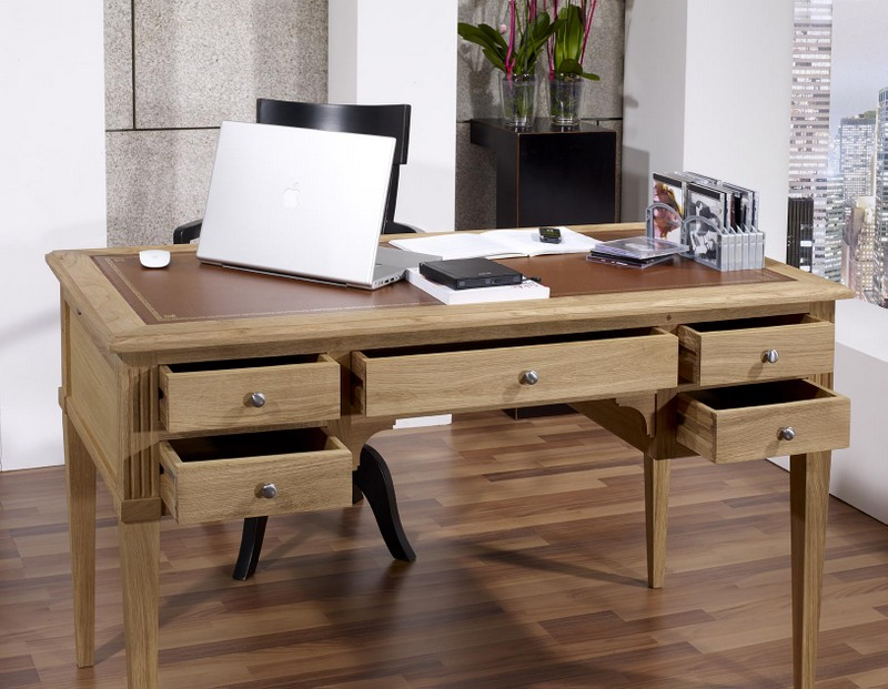 bureau ministre 5 tiroirs jean christian en ch ne de style directoire finition ch ne bross. Black Bedroom Furniture Sets. Home Design Ideas