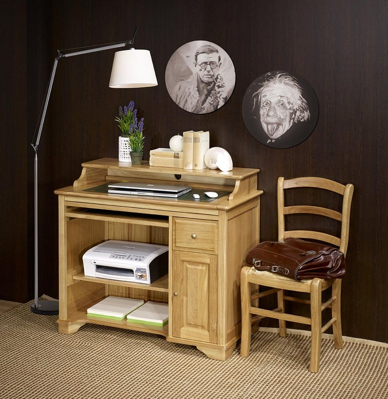 Petit bureau informatique emeric en ch ne de style louis for Meuble informatique bois