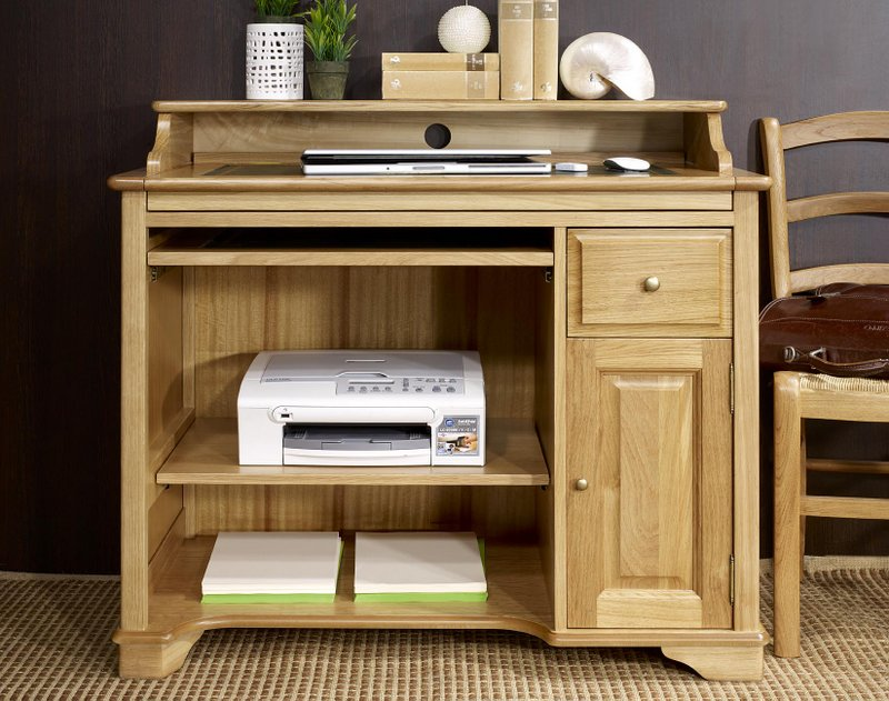 Petit bureau informatique emeric en ch ne de style louis for Meuble bureau pour imprimante