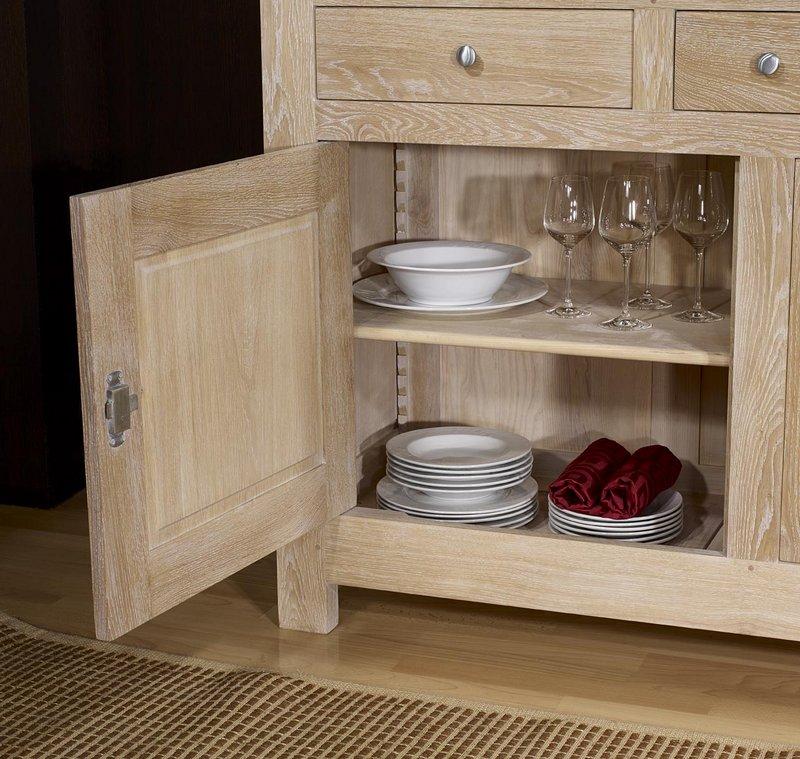 buffet 2 portes en ch ne massif de style campagnard finition ch ne bross blanchi meuble en. Black Bedroom Furniture Sets. Home Design Ideas