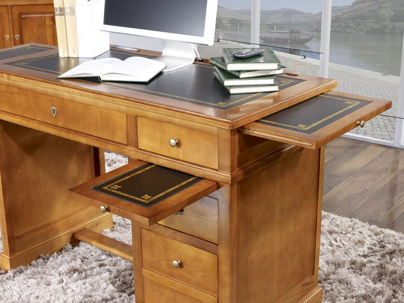 petit bureau lucie en merisier de style louis philippe surface d 39 criture en moleskine noire. Black Bedroom Furniture Sets. Home Design Ideas