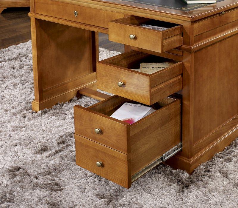 petit bureau lucie en merisier de style louis philippe surface d 39 criture en moleskine noire. Black Bedroom Furniture Sets. Home Design Ideas