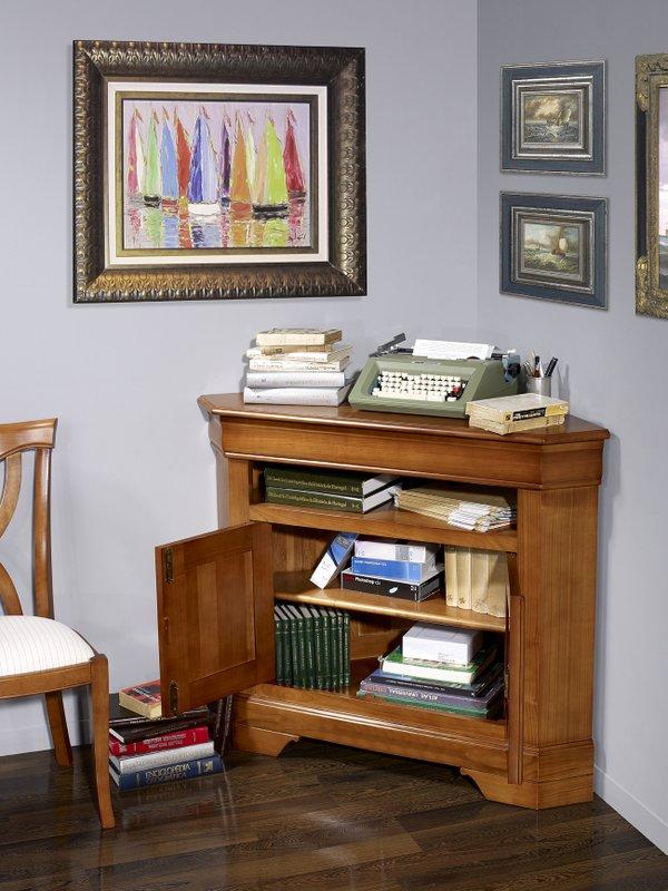 meuble d 39 angle tv 2 portes en merisier massif de style louis philippe meuble en merisier massif. Black Bedroom Furniture Sets. Home Design Ideas