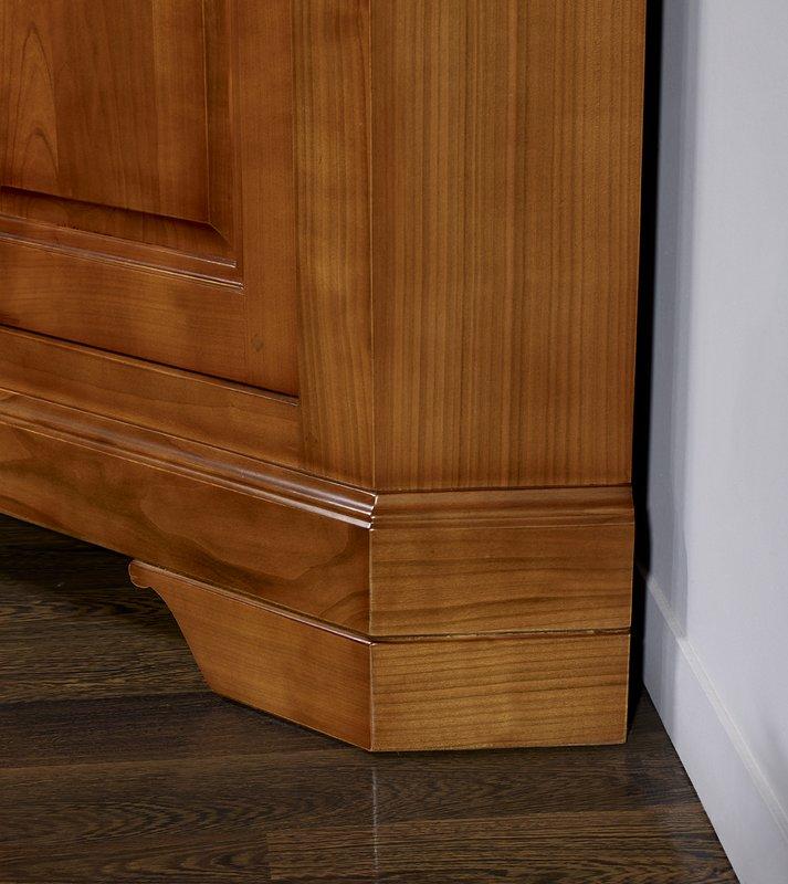 Meubles Bois Massif Merisier - Meuble d'angle TV 2 portes en merisier massif de style Louis Philippe , meuble en Merisier massif