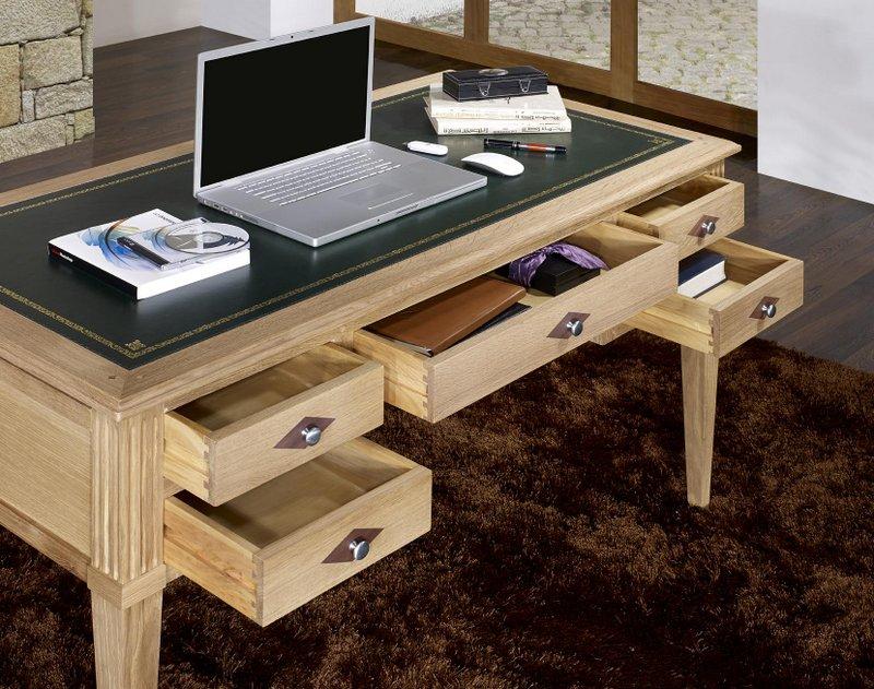 Bureau ministre 5 tiroirs jean christian en ch ne de style for Bureau 5 tiroirs