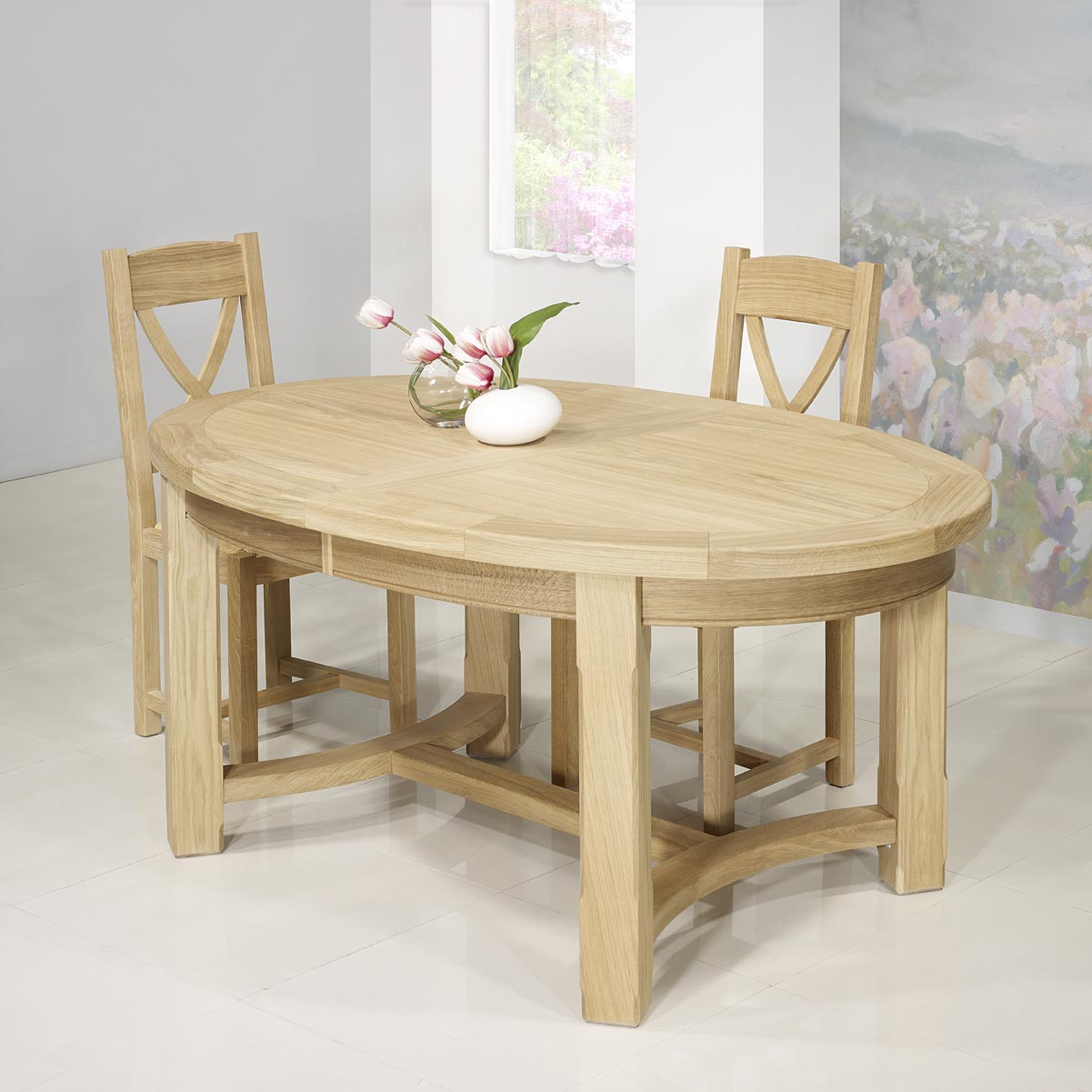 table de ferme ovale tom en ch ne massif de style campagnard 170 110 meuble en ch ne massif. Black Bedroom Furniture Sets. Home Design Ideas