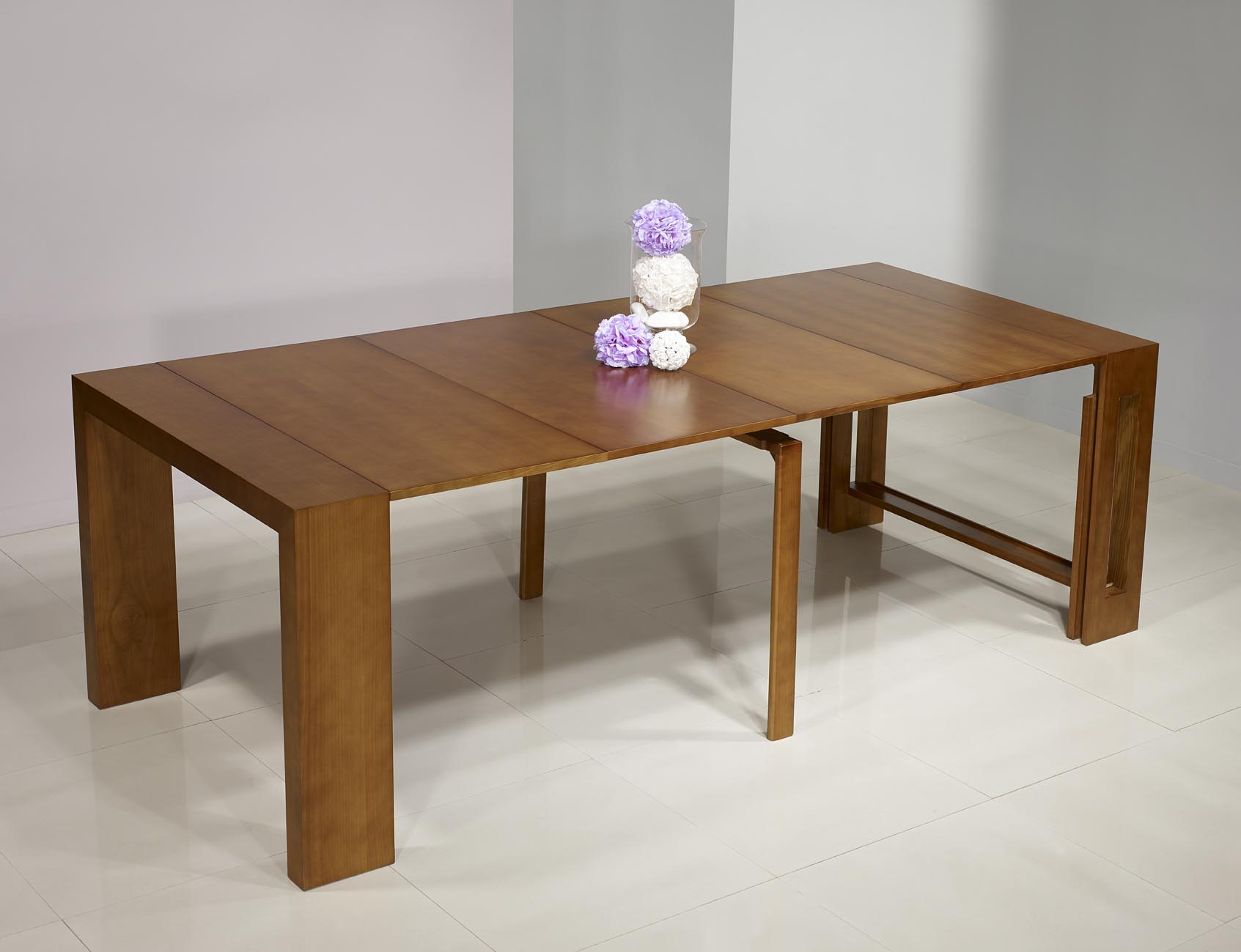 Console extensible en merisier contemporaine 4 allonges meuble en merisier - Meuble table extensible ...