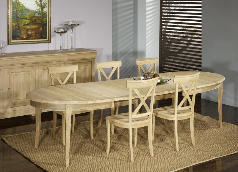 Table ovale 170 110 romain en ch ne massif de style louis philippe 5 allonges de 40 cm finition - Set de table ovale ...