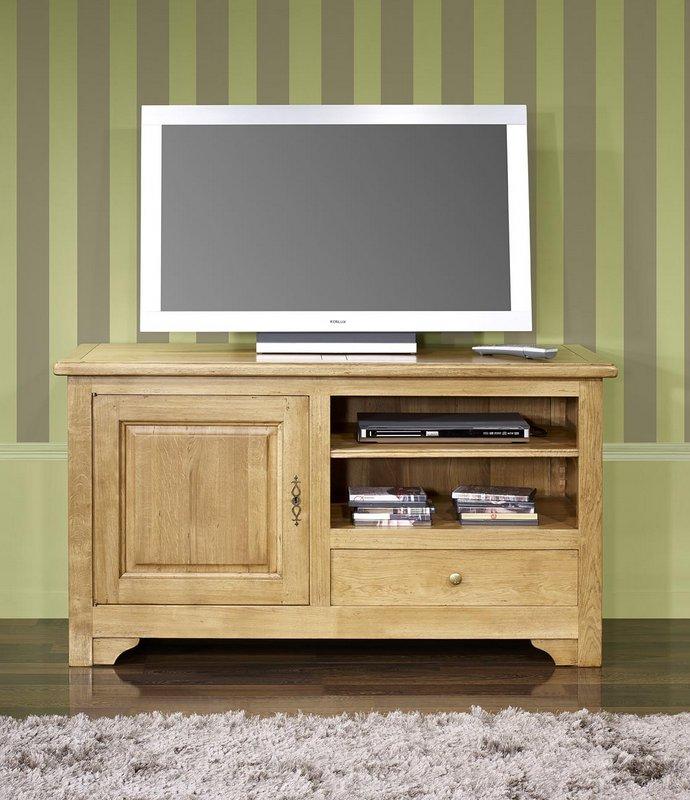 Meuble tv 16 9 me en ch ne massif de style louis philippe for Meuble tv 90 cm de longueur
