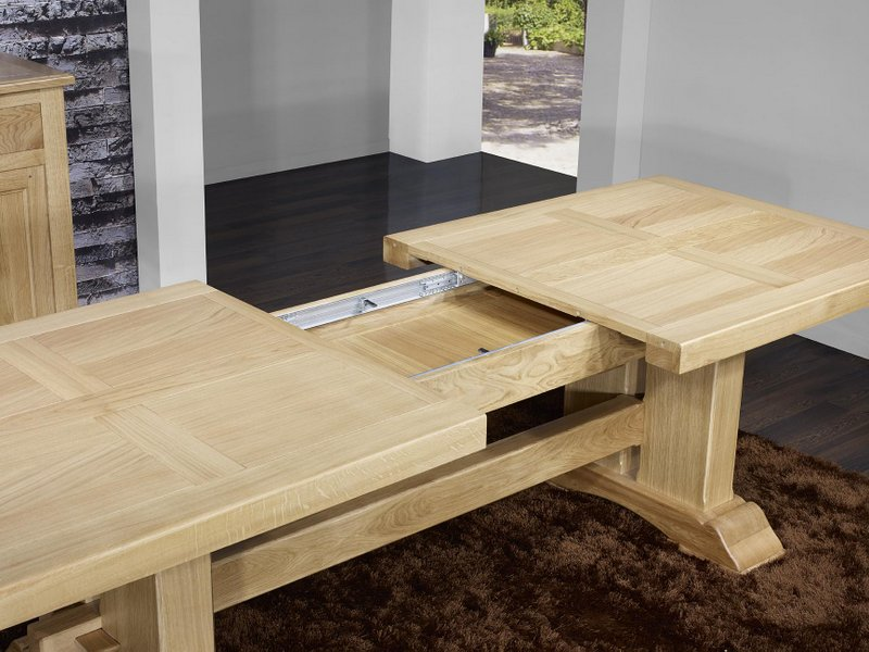 Table monast re rectangulaire 220x100 en ch ne massif 2 for Table rectangulaire bois avec allonges