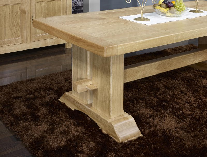 Table monast re rectangulaire 220x100 en ch ne massif 2 allonges de 40 cm m - Table en chene massif prix ...