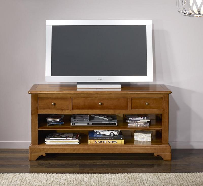 Meube tv gabriel 16 9eme en merisier massif de style louis - Meuble merisier massif louis philippe ...
