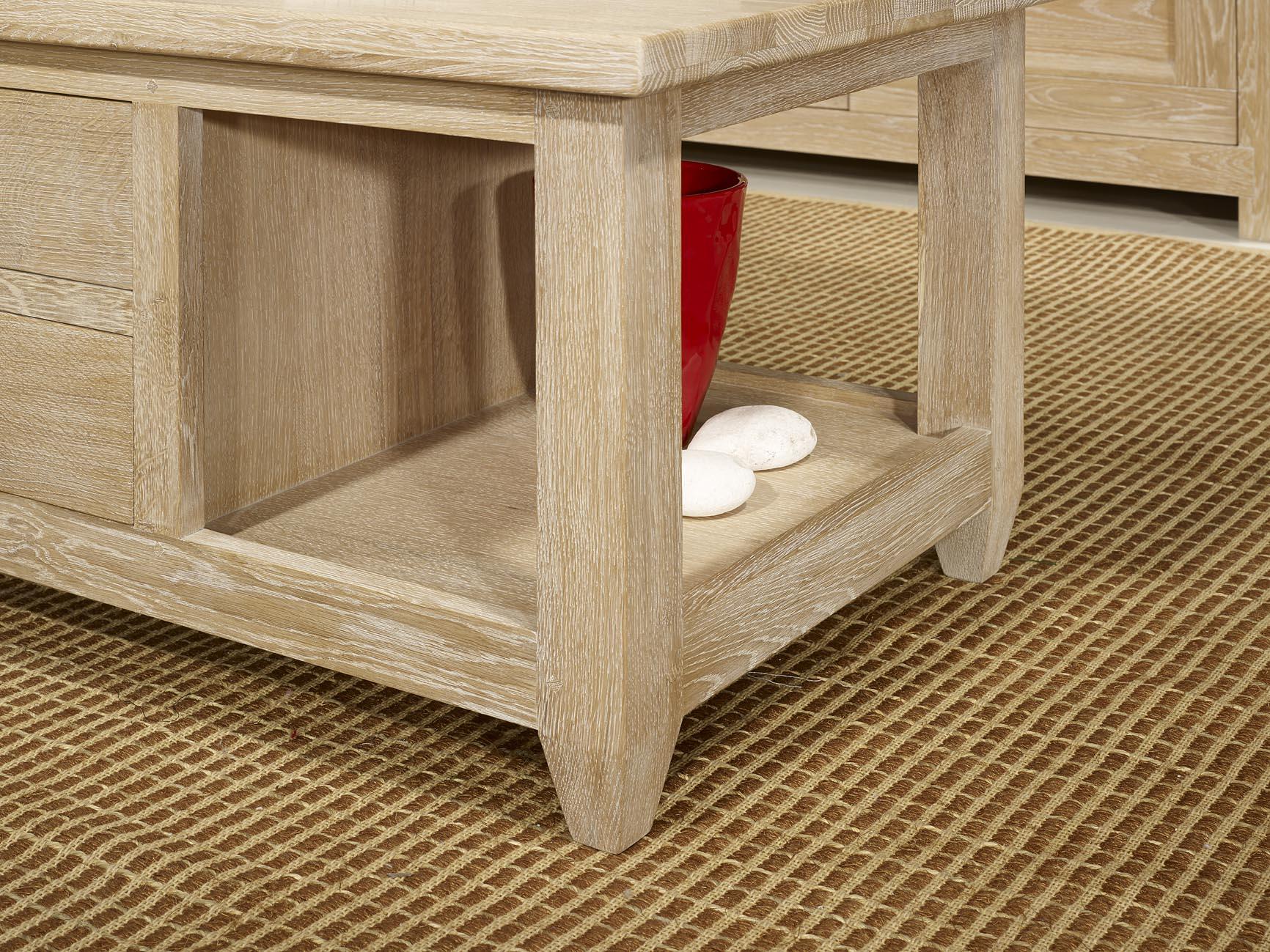 Table basse thomas en ch ne massif de style campagnard - Table chene massif blanchi ...
