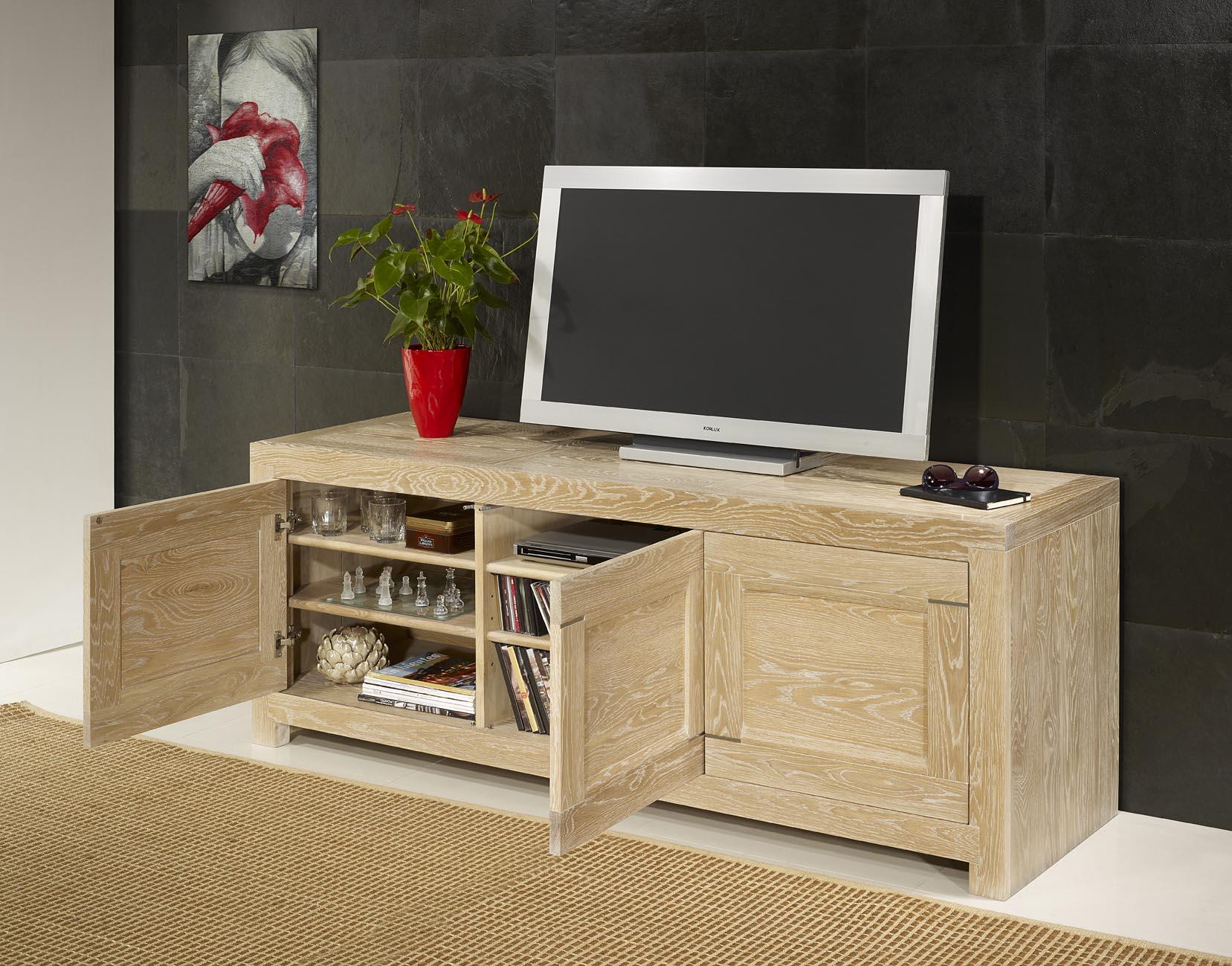 meuble tv 16 9 me thierry en ch ne massif contemporain. Black Bedroom Furniture Sets. Home Design Ideas