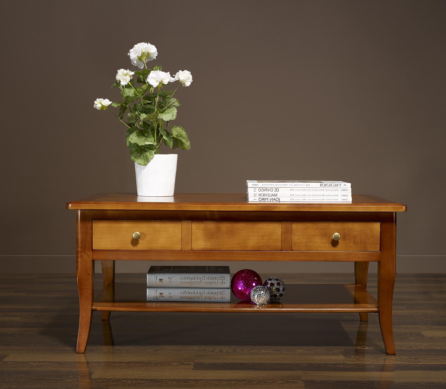 Table basse rectangulaire e en merisier de style louis - Meuble merisier massif louis philippe ...