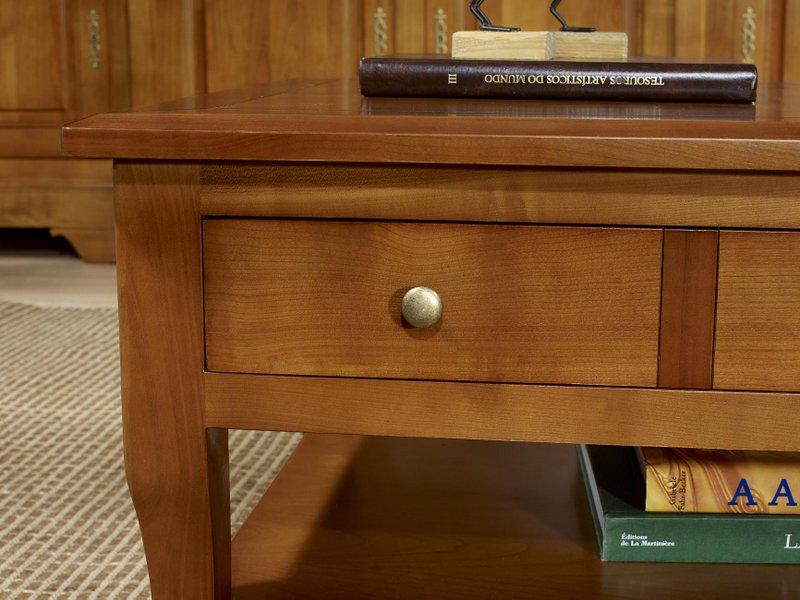 Table basse rectangulaire alba en merisier de style louis philippe meuble en merisier massif - Table basse louis philippe ...