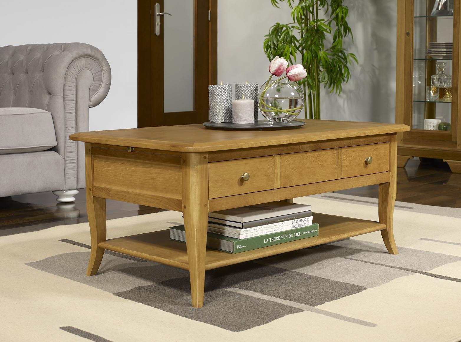 Table basse rectangulaire alexandre en ch ne de style for Table cuisine hauteur 85 cm