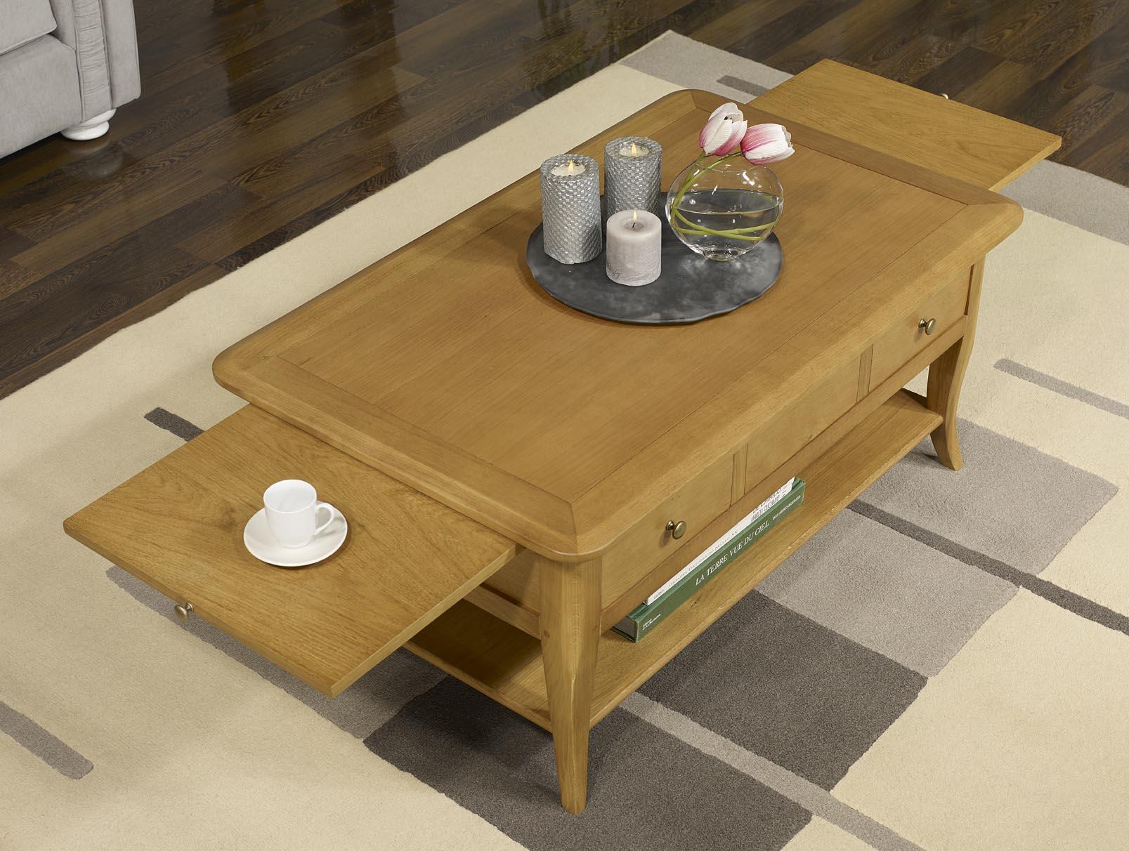 Table basse rectangulaire alexandre en ch ne de style Meuble cuisin 85 cm de longueur