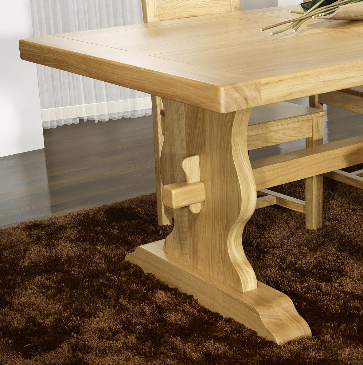 Table monast re 200x100 en ch ne massif meuble en ch ne massif - Table en chene massif prix ...