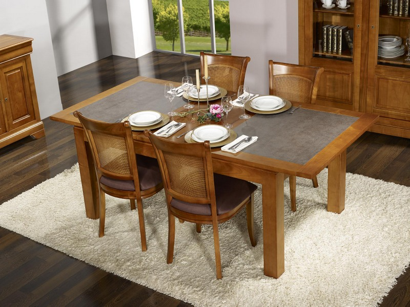 table de repas aurore en merisier massif contemporaine. Black Bedroom Furniture Sets. Home Design Ideas