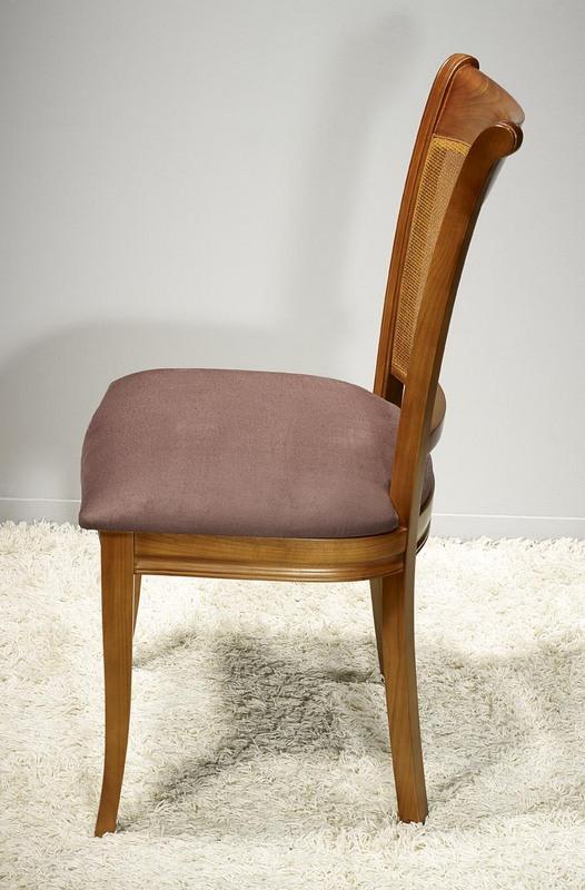 chaise ambre en merisier de style louis philippe assise chocolat meuble en merisier massif. Black Bedroom Furniture Sets. Home Design Ideas