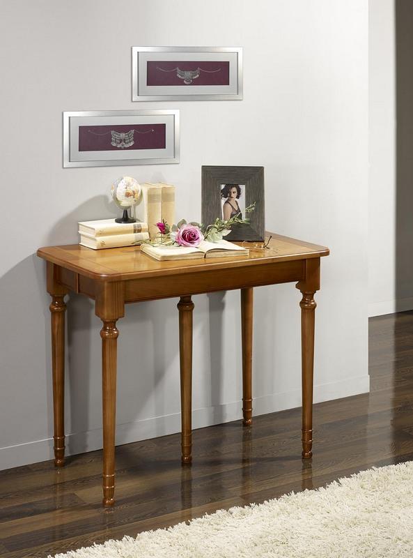 Console ou table extensible catherine en merisier de style for Meuble table extensible