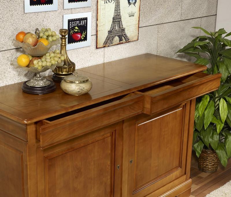 buffet 2 portes 2 tiroirs en merisier massif de style louis philippe largeur 160 meuble en. Black Bedroom Furniture Sets. Home Design Ideas