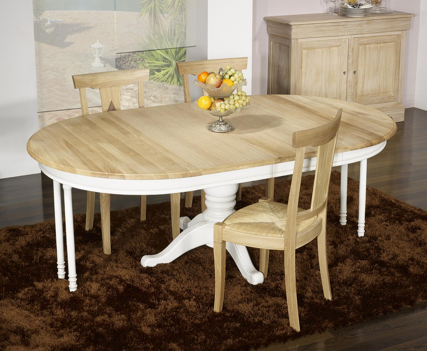 Table ronde pied central en ch ne massif de style louis - Pied central de table ...