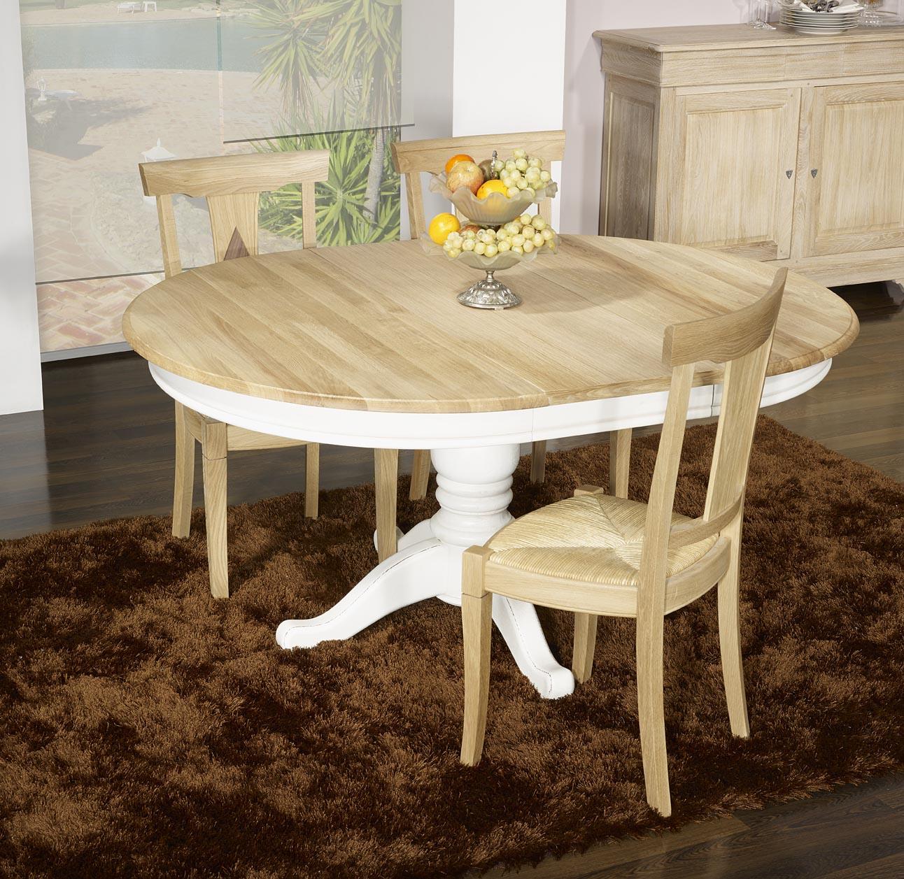 Table ronde pied central en ch ne massif de style louis - Table ronde bois massif ...