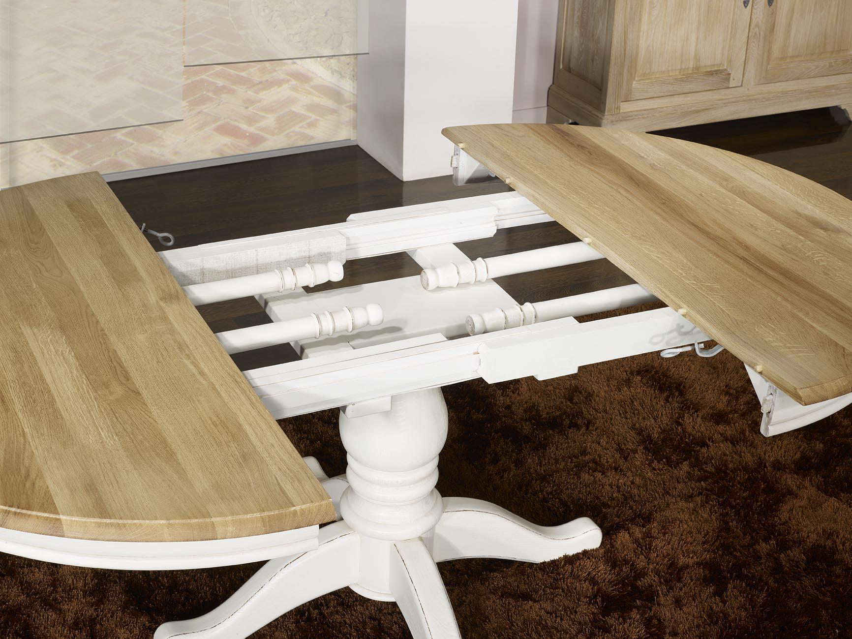 Table ronde pied central en ch ne massif de style louis - Table ronde pied central fly ...