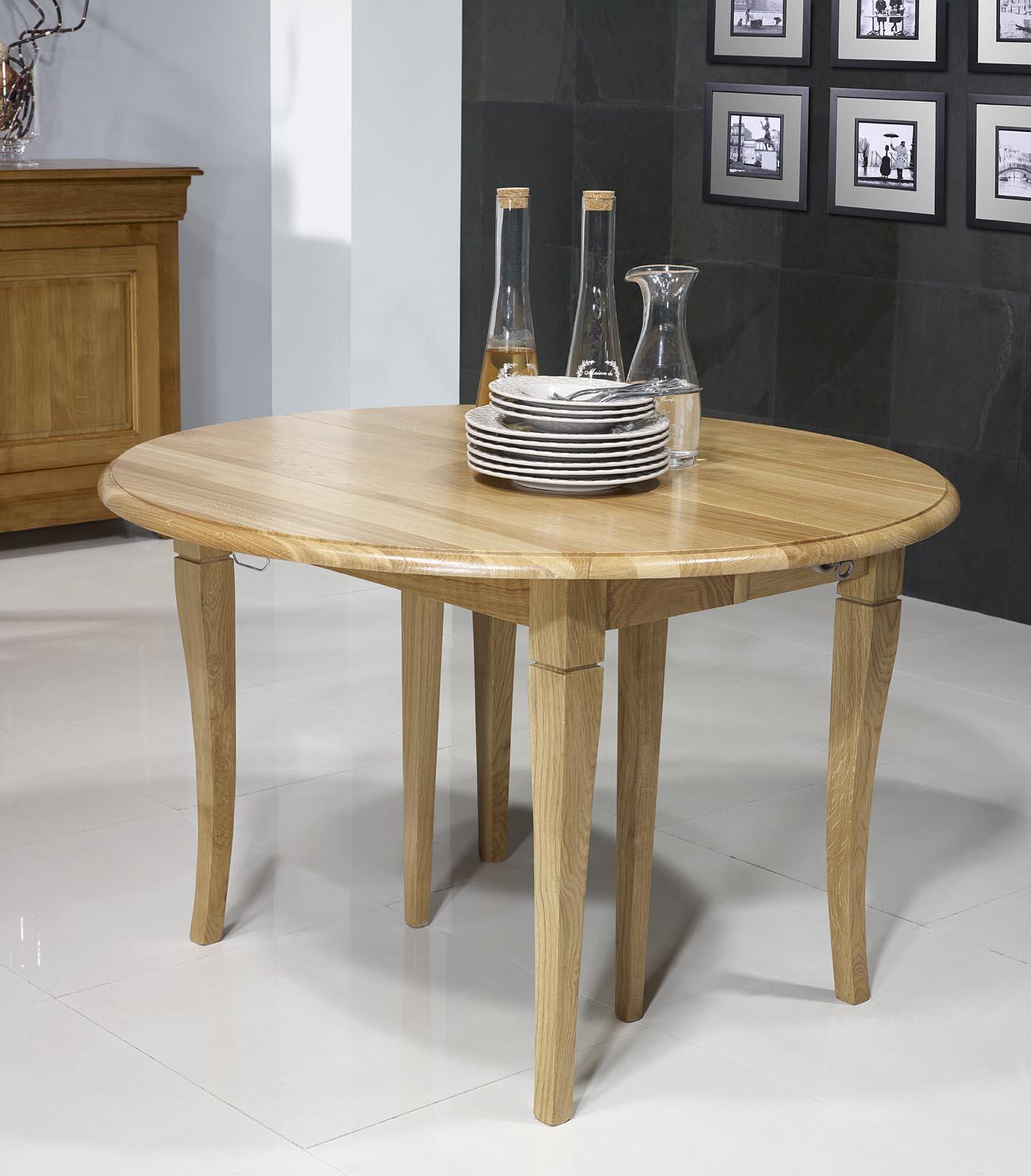 table ronde volets en ch ne massif de style louis philippe diam tre 120 3 allonges de 40 cm. Black Bedroom Furniture Sets. Home Design Ideas