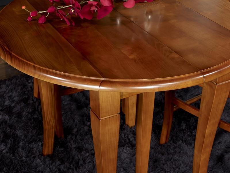 Table ronde volets en merisier massif de style louis - Table ronde diametre 90 ...